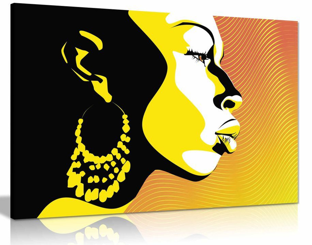 Modern African Art Silhouette Yellow Black Canvas Wall Art Picture Print Home Decor