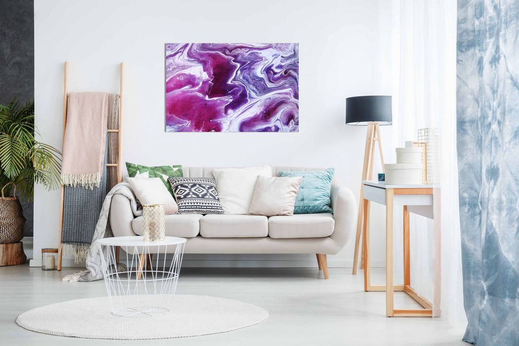 Pink Purple Abstract Marble Canvas Wall Art Picture Print Home Decor