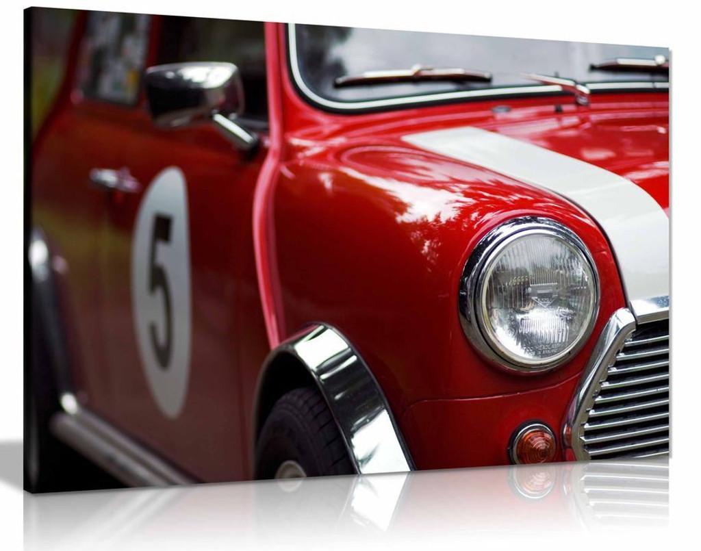 Red Classic Mini Cooper  Canvas Wall Art Picture Print Home Decor