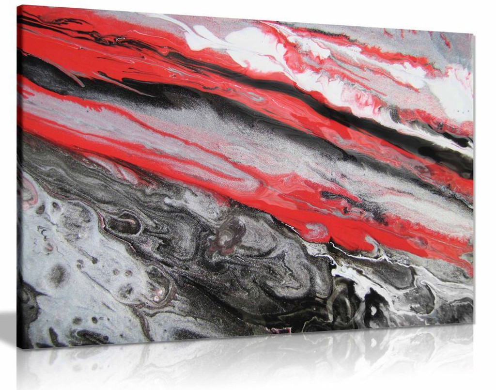 Red White Black Abstract Marble Canvas Wall Art Picture Print Home Decor