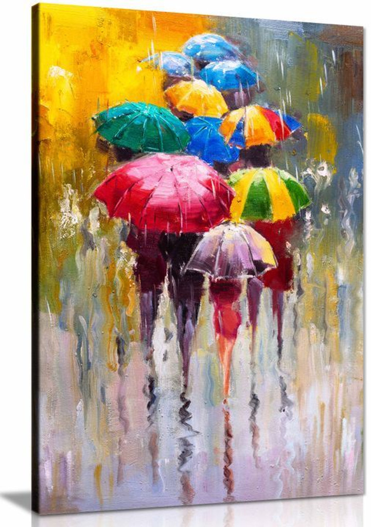 Umbrellas Colourfull Painting Canvas Wall Art Picture Print Home Decor
