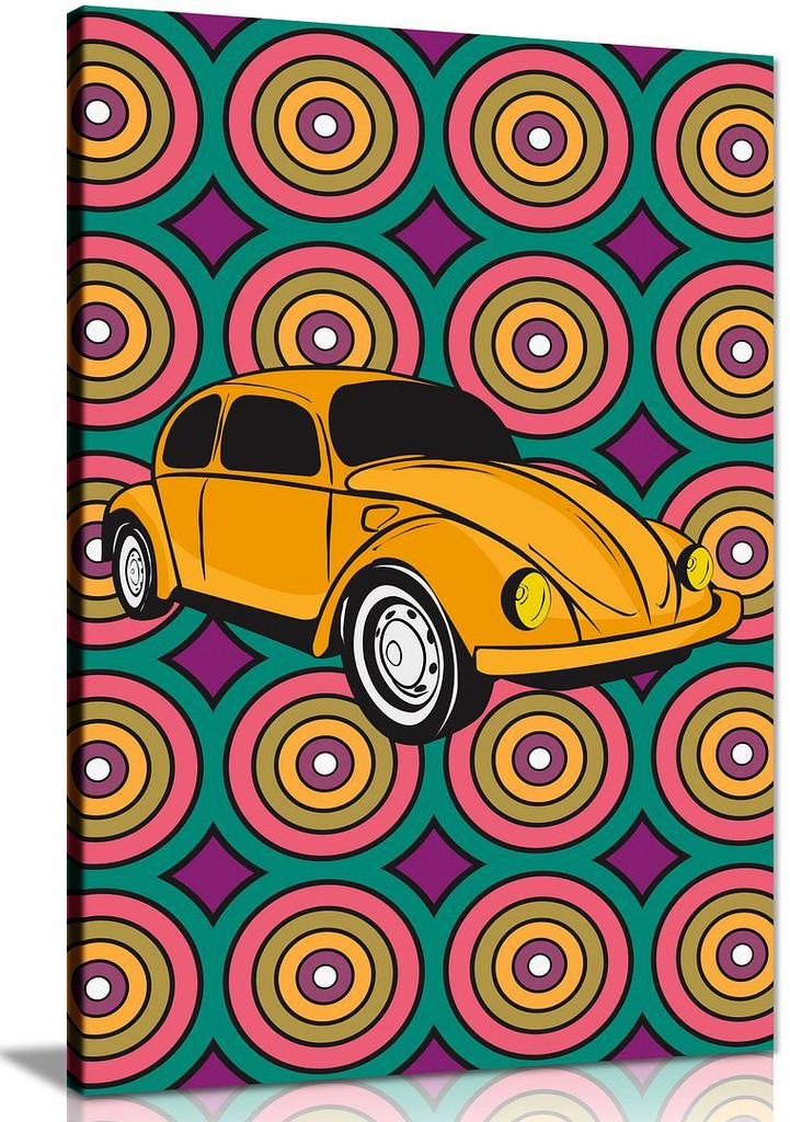 VW Beetle Abstract Garage Art Canvas Wall Art Picture Print Home Decor