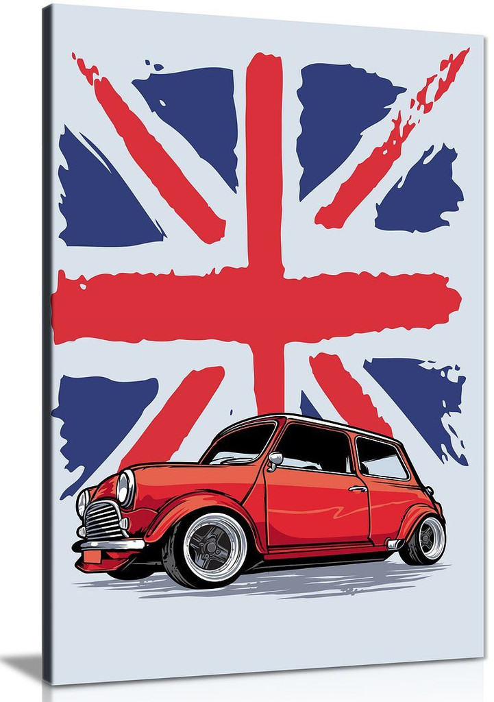 Classic Mini Cooper England Abstract Garage Canvas Art Canvas Wall Art Picture Print Home Decor