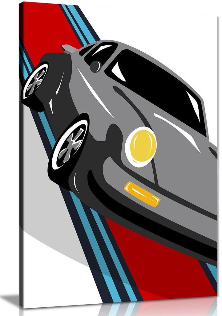 Grey Porsche Pop Art Abstract Garage Canvas Wall Art Picture Print Home Decor