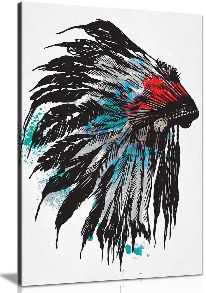 Native American Feathered Headdress Canvas Wall Art Picture Print Home Decor