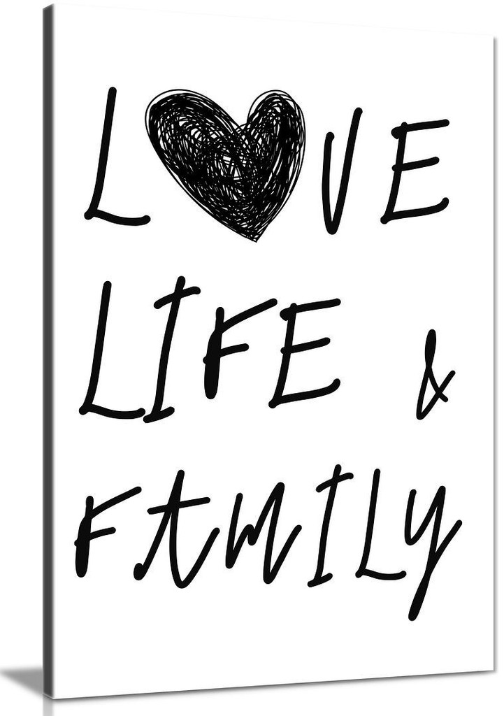 Love Life and Family Canvas Wall Art Picture Print for Home  Decor, Hallways and Living Room