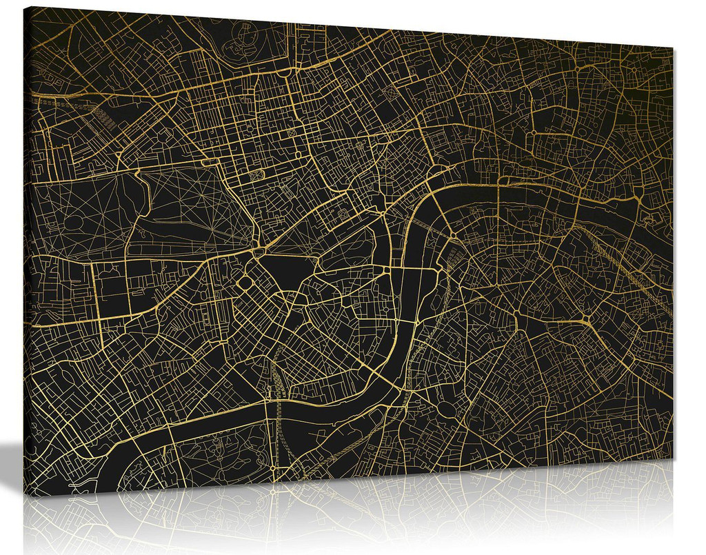 London Underground Map Gold Canvas Wall Art Picture Print Home Decor