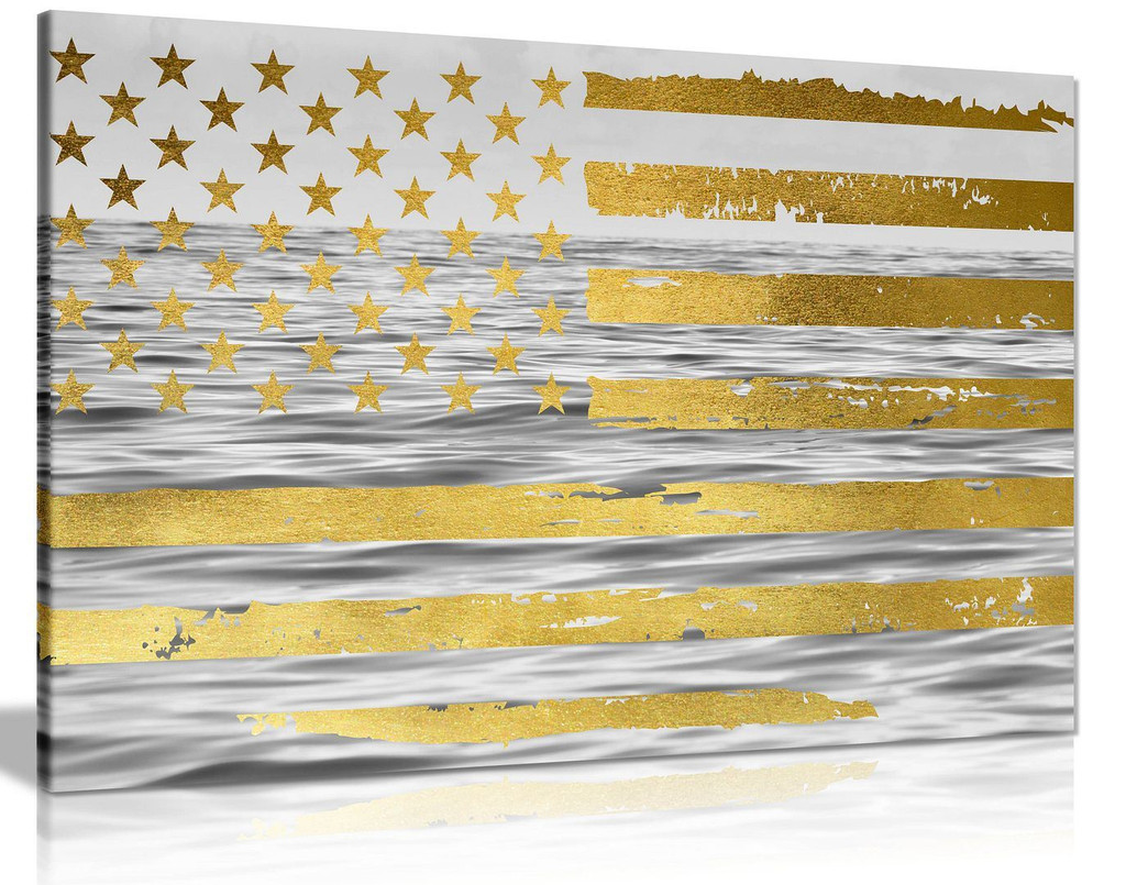 American Flag Abstract Gold Canvas Wall Art Picture Print Home Decor