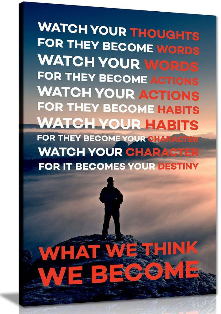 Watch Your Thoughts What We Think We Become Motivational Classroom Modern Canvas Prints Wall Art for Office Living Room Home Decorations Stretched and Framed Giclee Pictures Artwork
