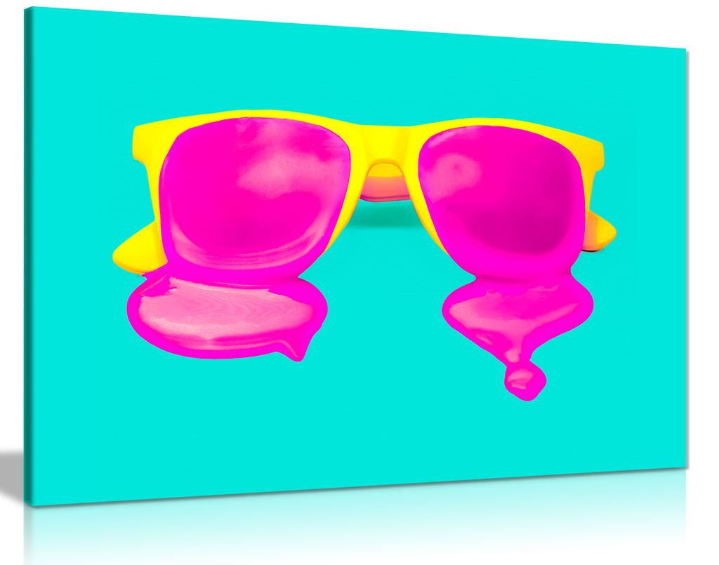 Modern Contemporary Pop Art Cool Yellow Pink Glasses Canvas