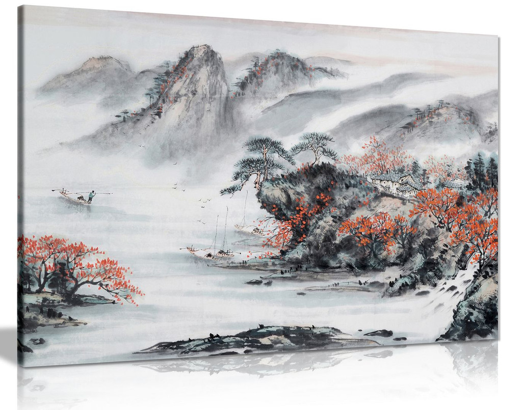 Japanese Contemporary Art Black White Red Canvas