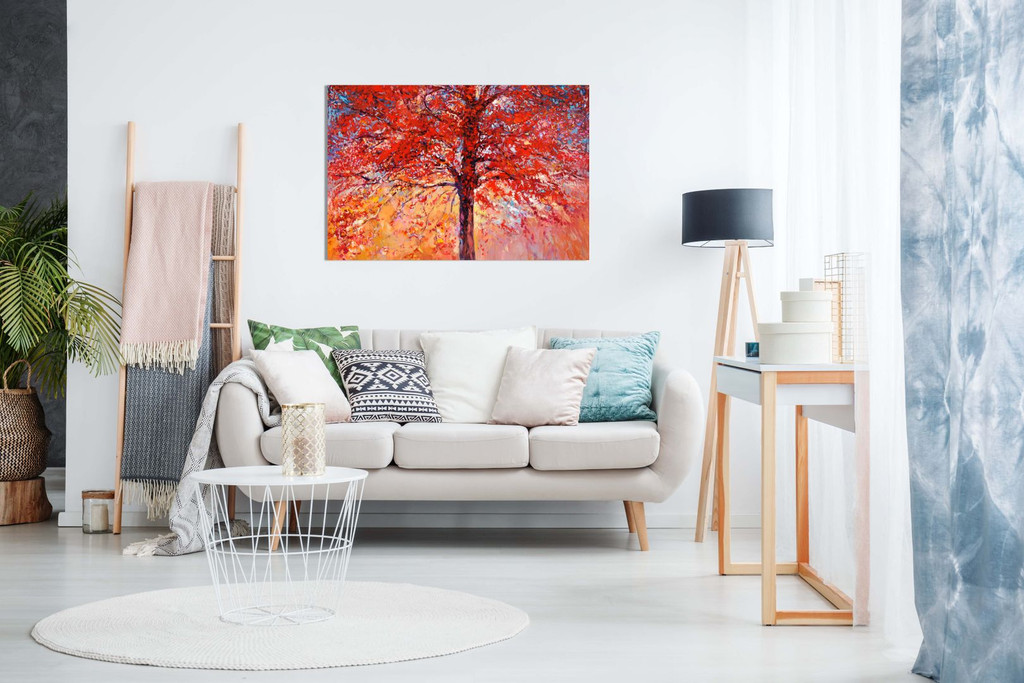 Abstract Oil Painting Red Autumn Tree Modern Canvas