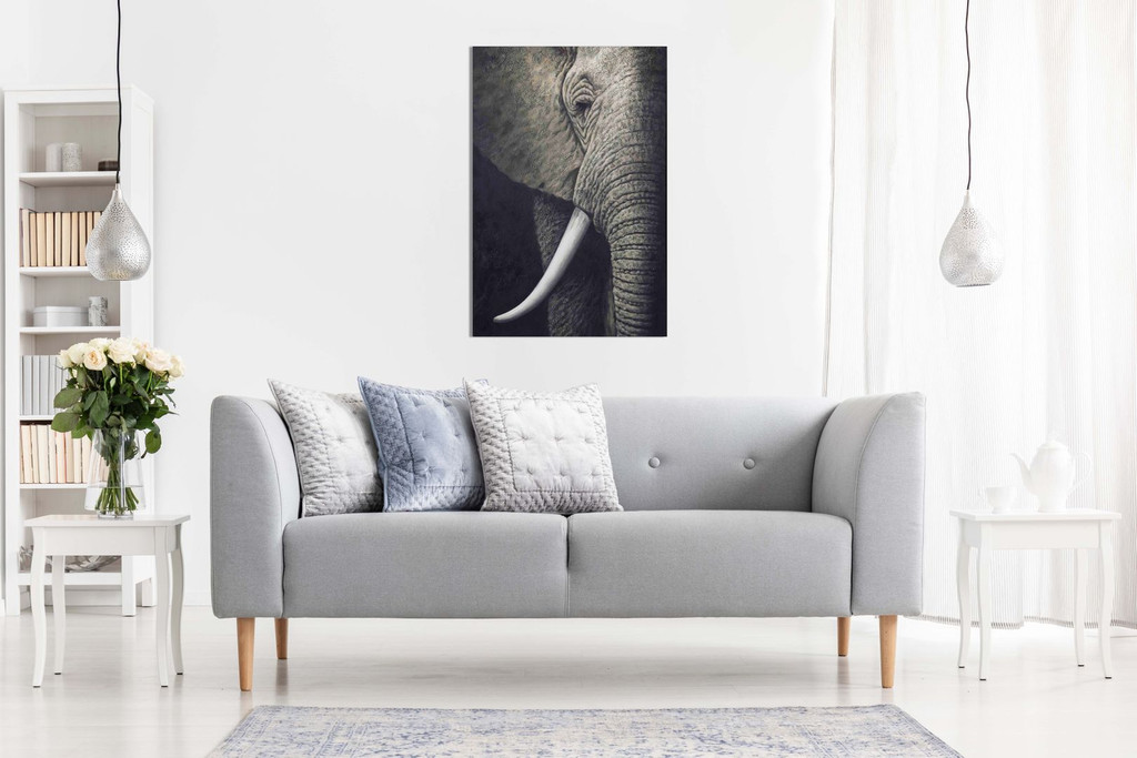 Black & White African Elephant Canvas