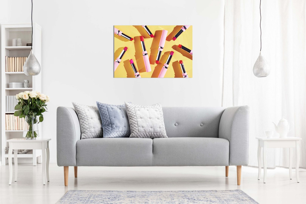 Abstract Girls Bedroom Wall Art Lipstick Canvas