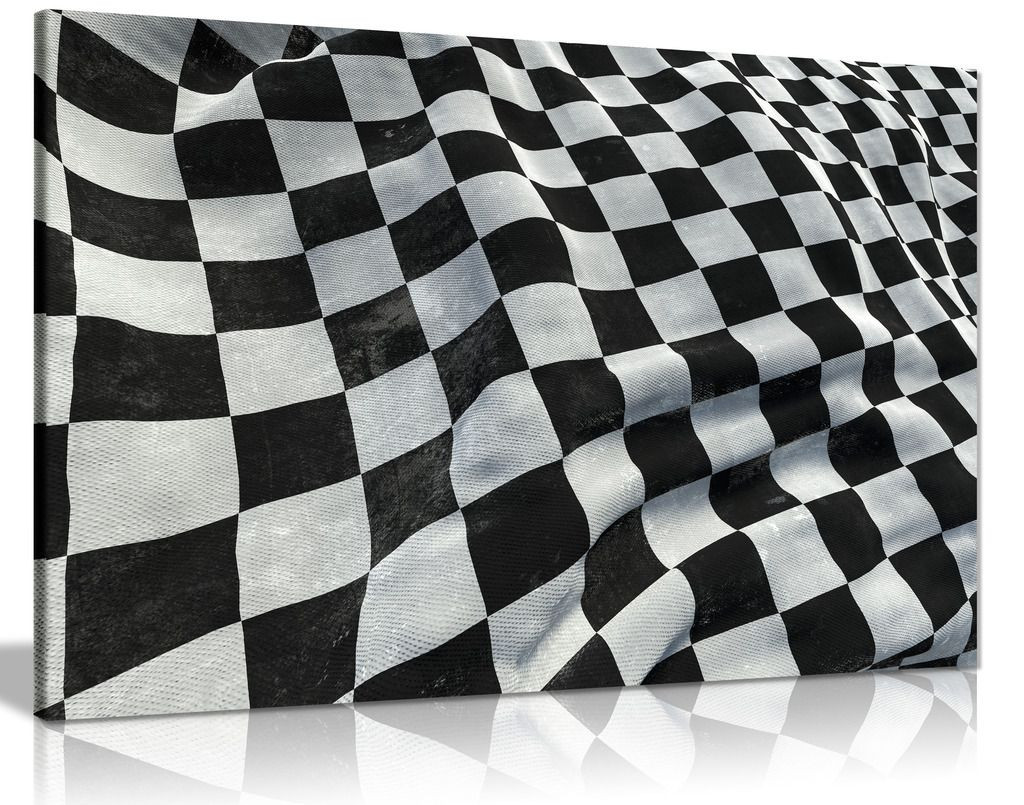 F1 Racing Chequered Flag Boys Bedroom Canvas