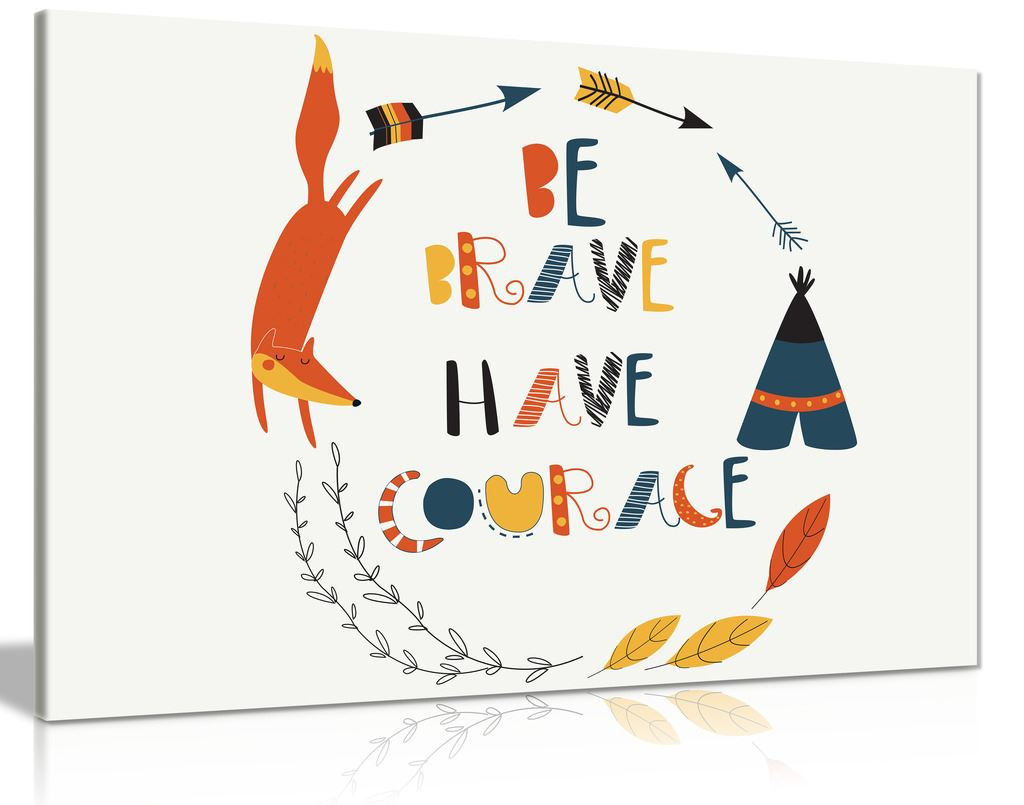 Kids Bedroom Baby Room Be Brave Nursery Decor Canvas