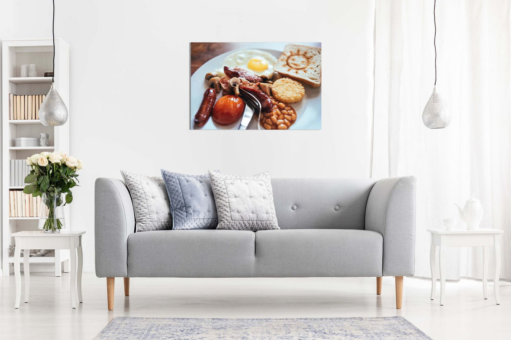 Traditional English Breakfast Cafe Restaurant Food Canvas