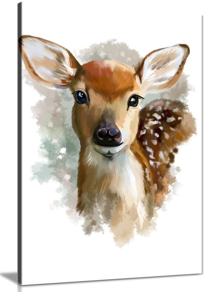Fawn Watercolour Bedroom Canvas
