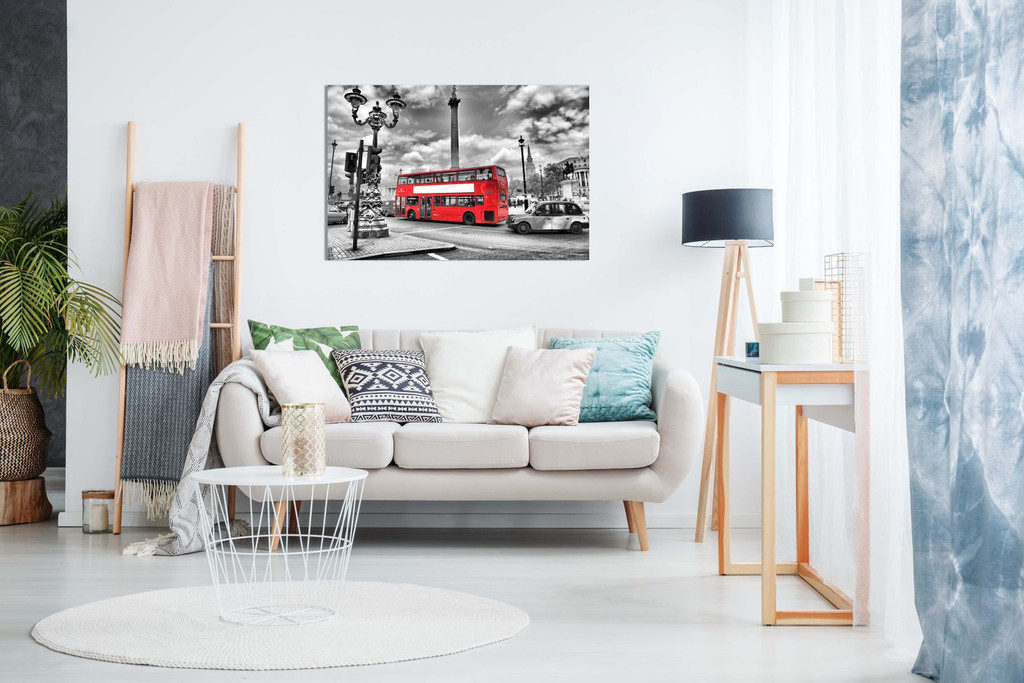 London Canvas Print Black & White Red Bus Canvas