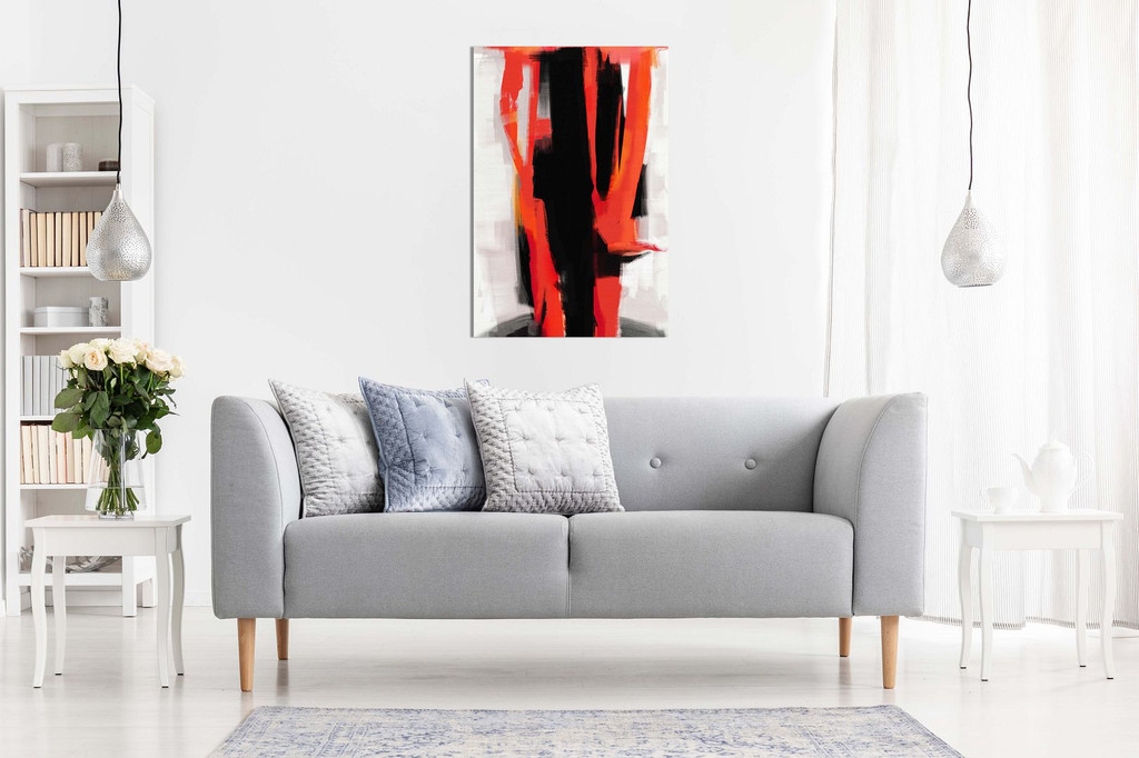 Abstract Expressionist Painting Black White Red Canvas