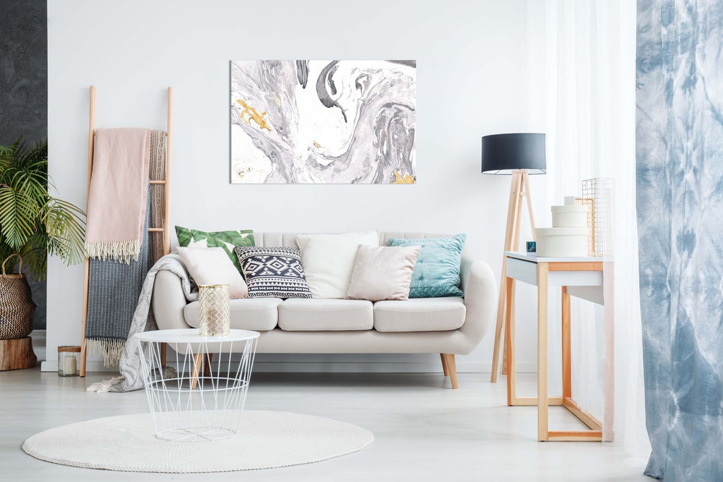Abstract Modern Grey Yellow White Paint Swirls Canvas