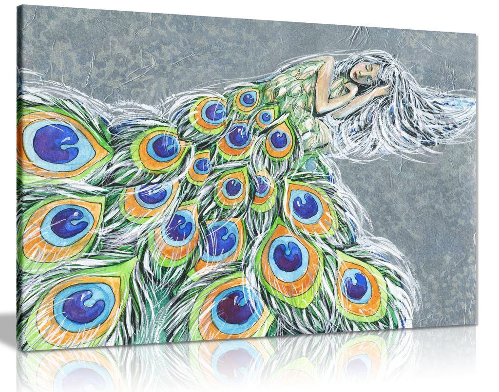 Modern Fairy Tale Painting Peacock Woman Canvas