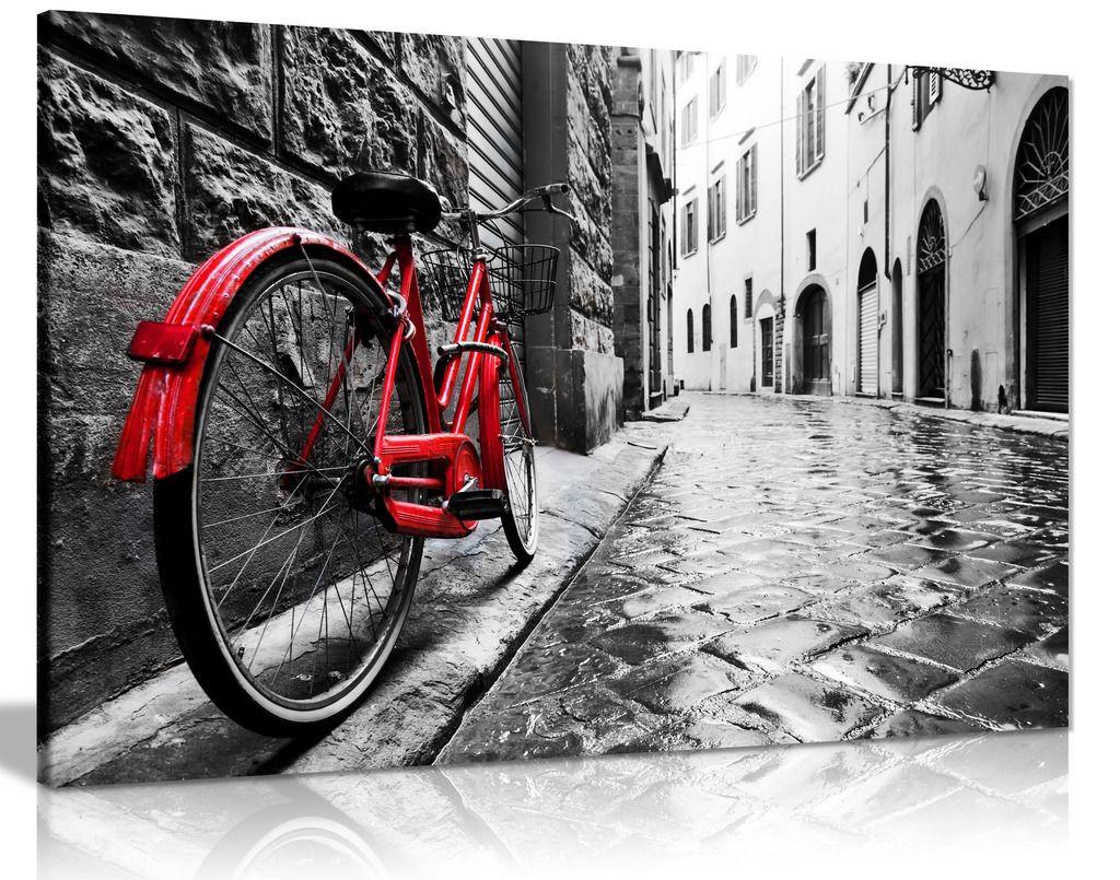 Retro Vintage Red Bike On Cobblestone Street Black & White Canvas