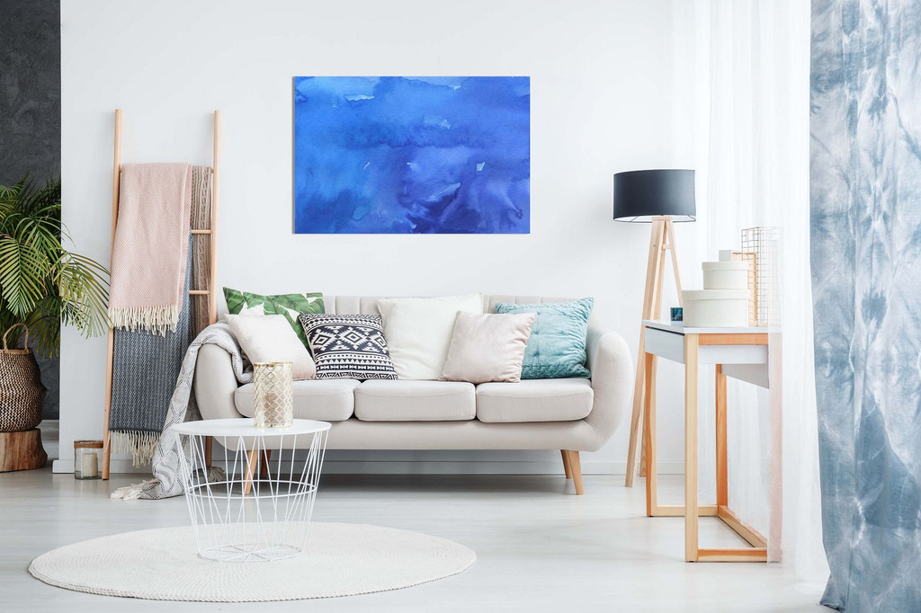 Abstract Wall Art Blue Watercolours Canvas