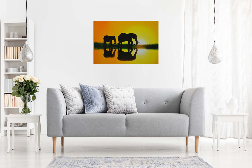 Nature Sunset African Elephant Home Canvas
