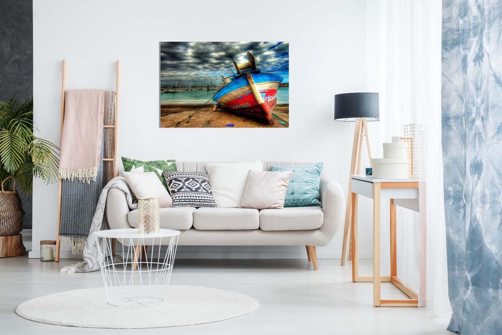 Landscape Colourful Boat On Sea Canvas