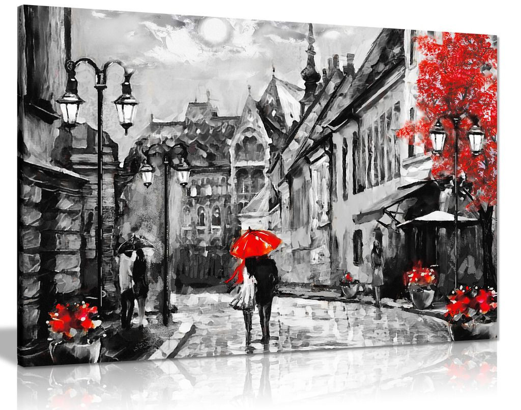 Black & White Red Budapest Painting Canvas