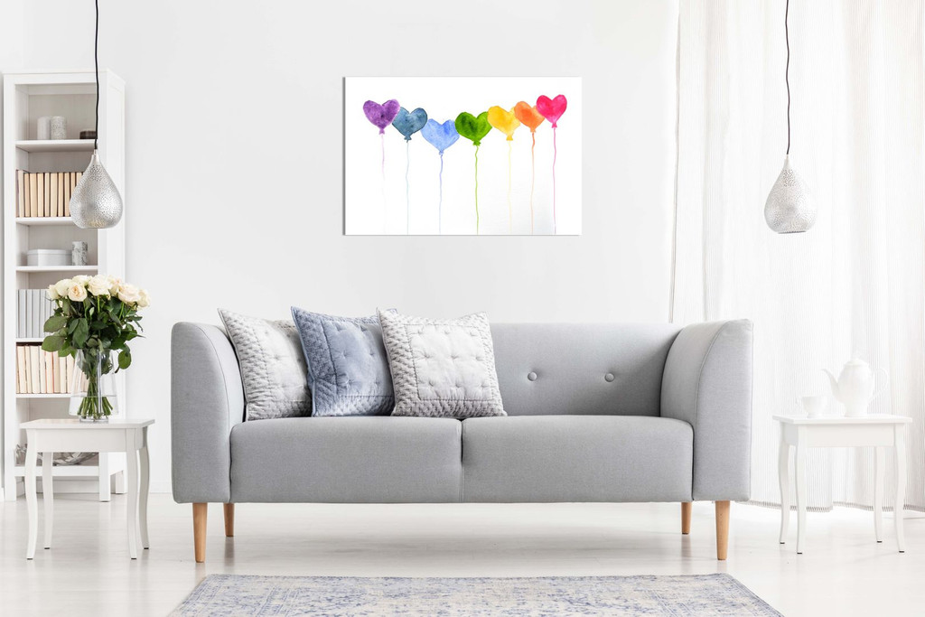 Watercolour Painting Hearts Bathroom Bedroom Canvas