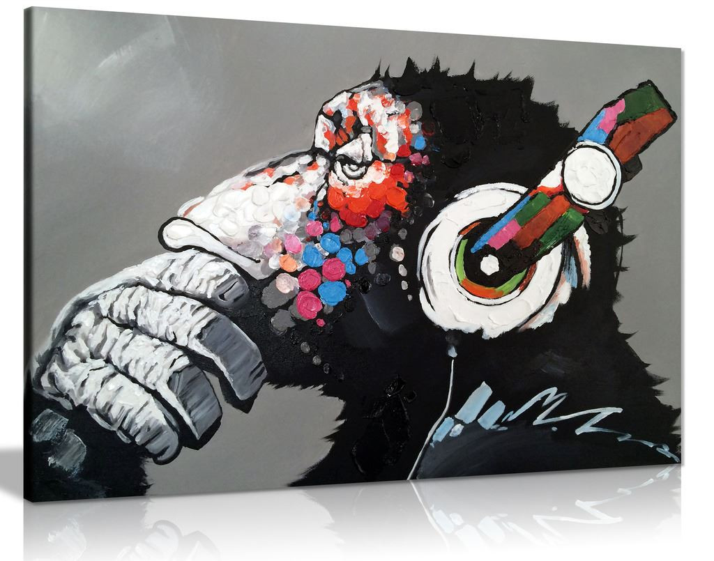 Cool Ape With Dj Heaphones Canvas