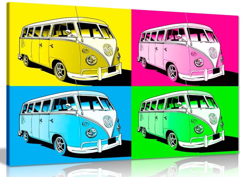Large Pop Art Volkswagen Camper Van Canvas Panther Print