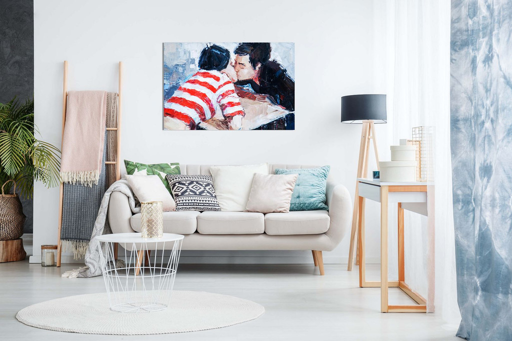 Couple in Love Kissing Wall Painting Canvas