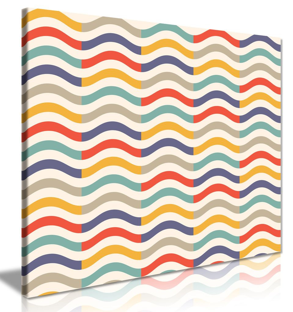 Abstract Retro Colorful Wave Pattern Canvas