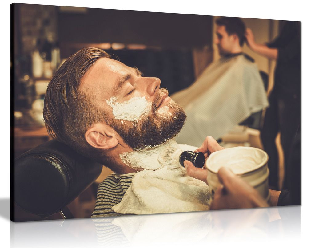 Barber Shop Decor Beard Shaving Haircut Canvas