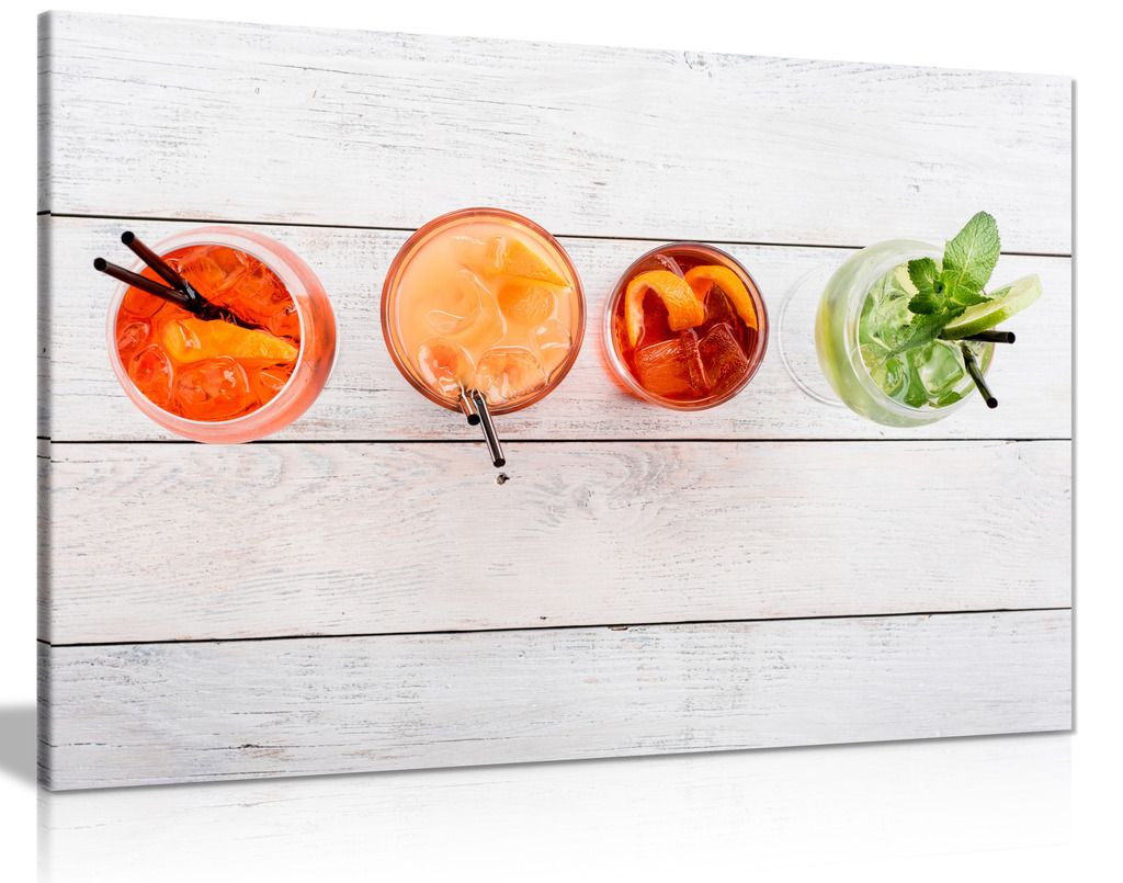 Cocktails Alcohol On Wooden Background Kitchen Canvas