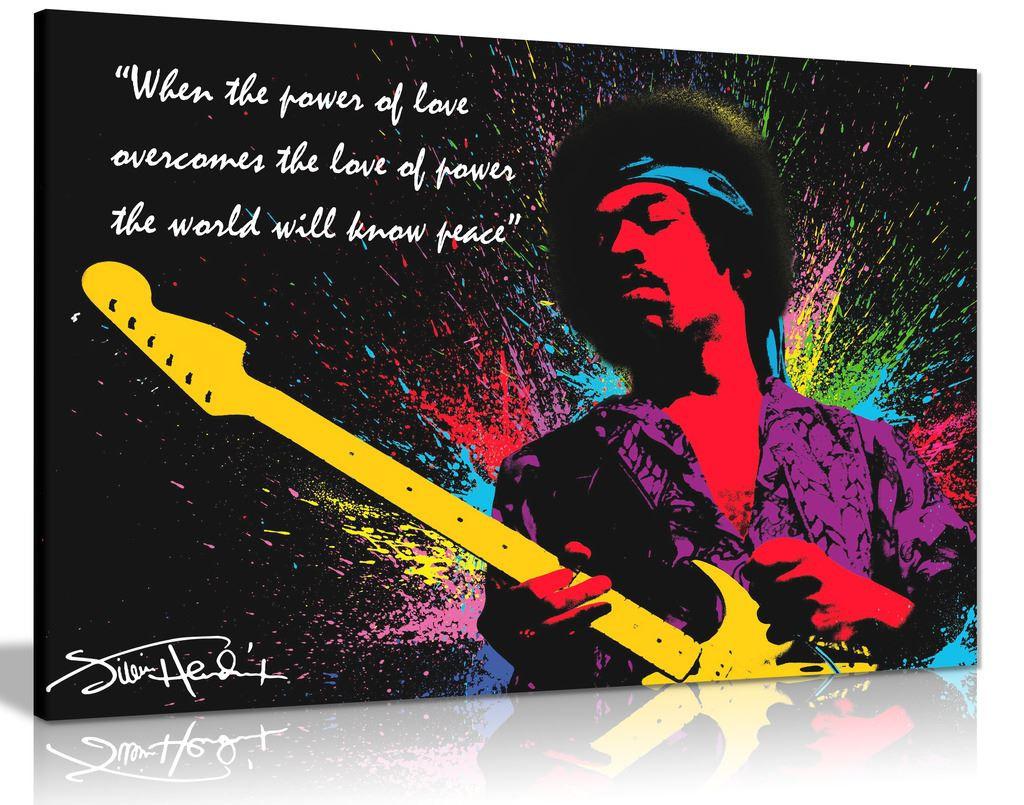 Jimi Hendrix Quote Colour Splash Canvas