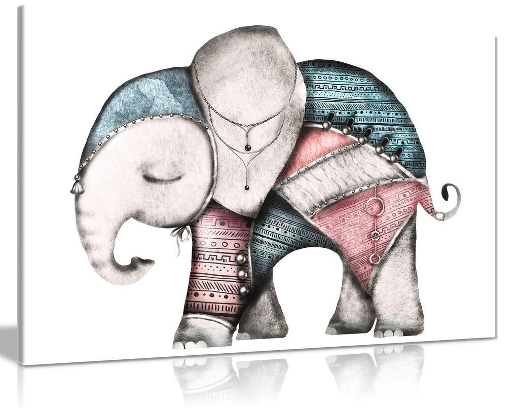 Elephant Nursery Decor Canvas