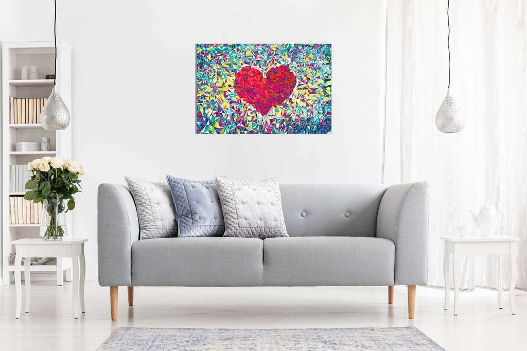 Love Heart Abstract Geometric Canvas
