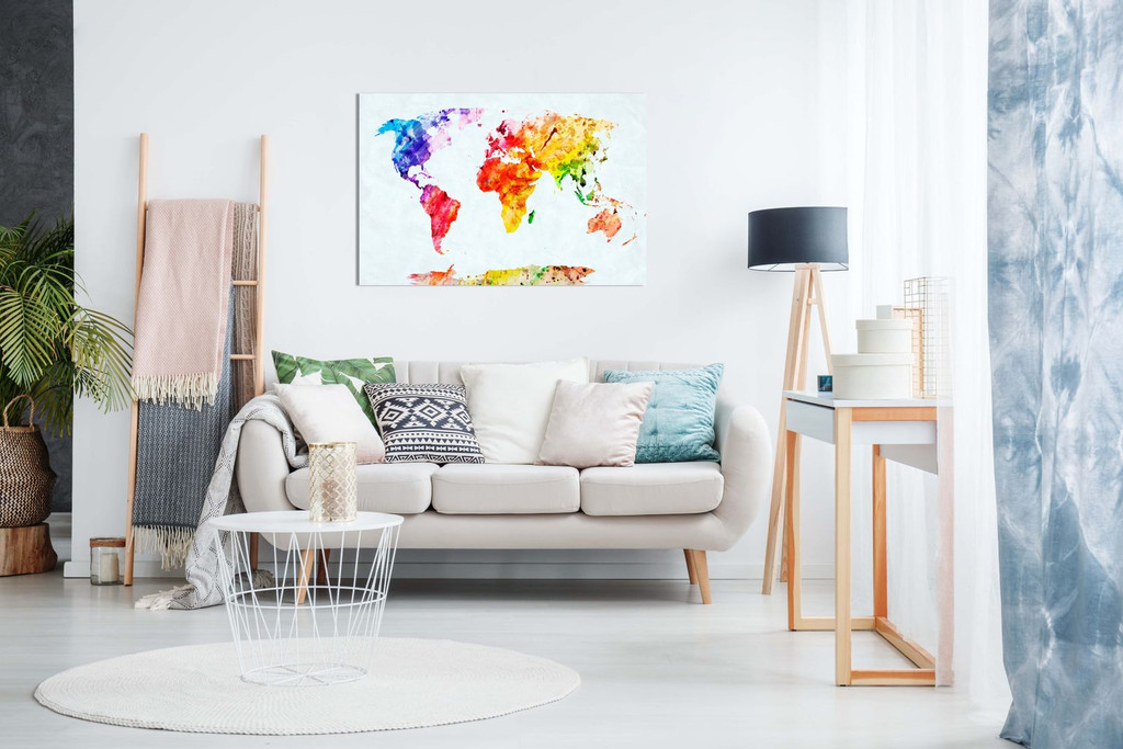 Watercolour Painting Map Of The World Canvas