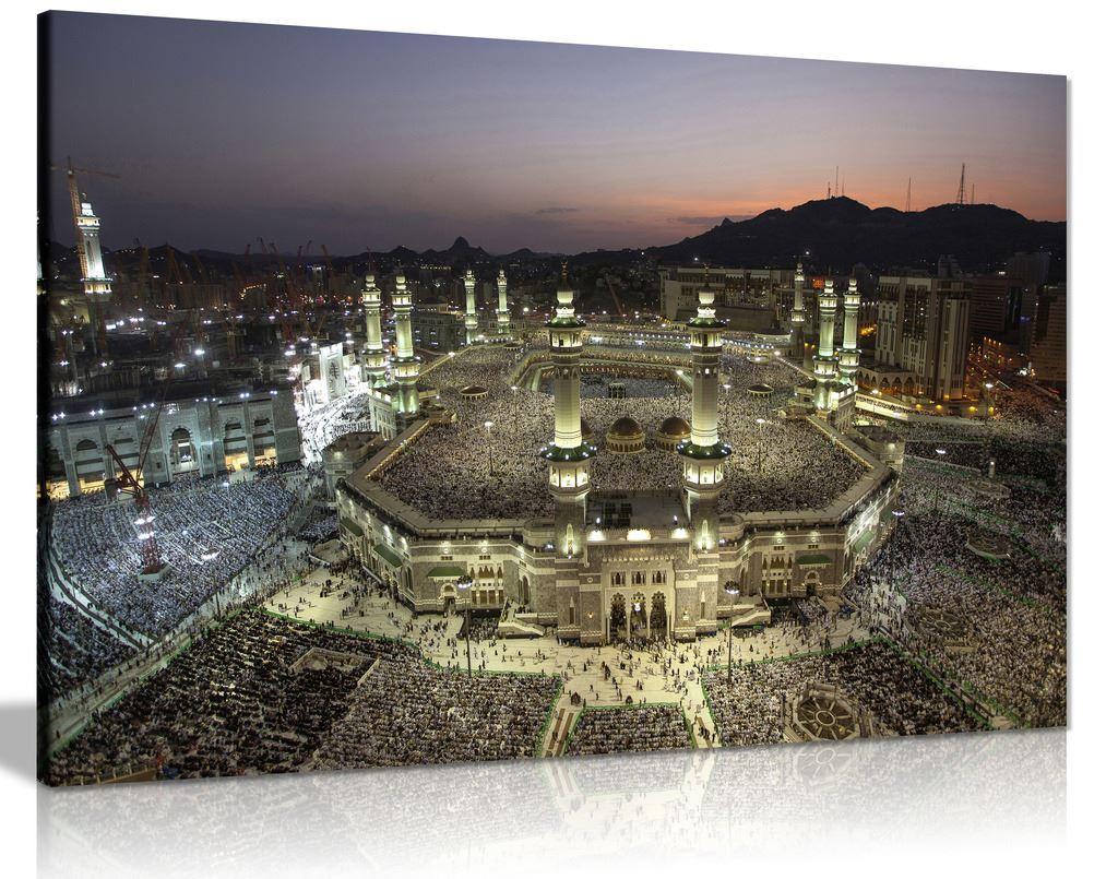 Islamic Art Mecca At Night Canvas