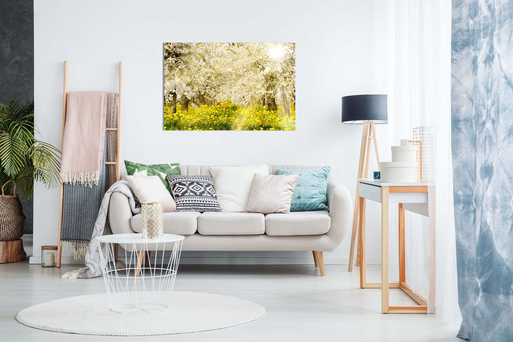 Sun Rays At Blooming Apple Tree Canvas