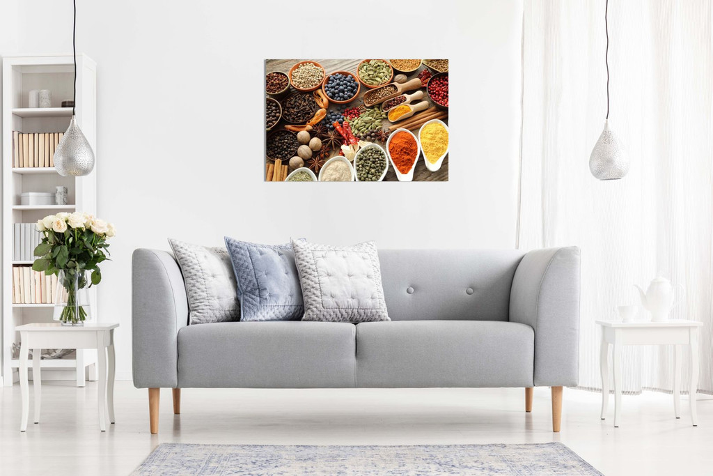 Rustic Aromatic Spices Bowls Restaurant Kitchen Canvas