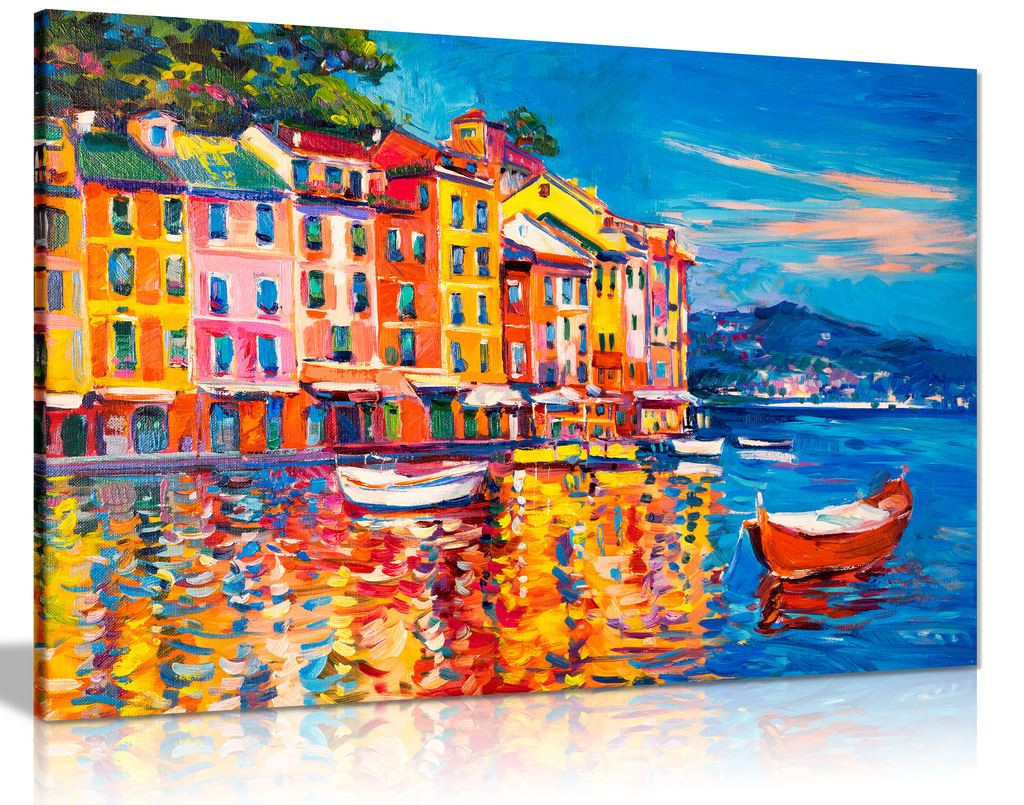 Colourful Oil Painting Boats Sea Harbour Canvas