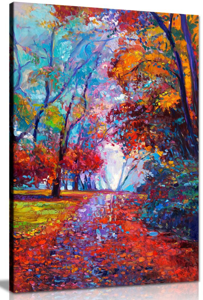 Abstract Contemporary Painting Autumn Forest Canvas