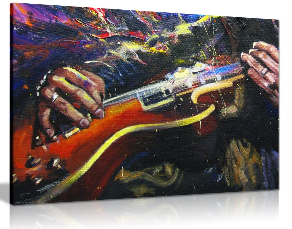 Painting of Guitarists Hands Music Multicoloured Canvas