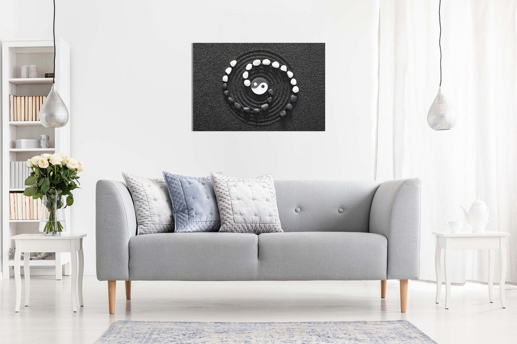 Japanese Zen Ying Yang Stones Black & White Canvas