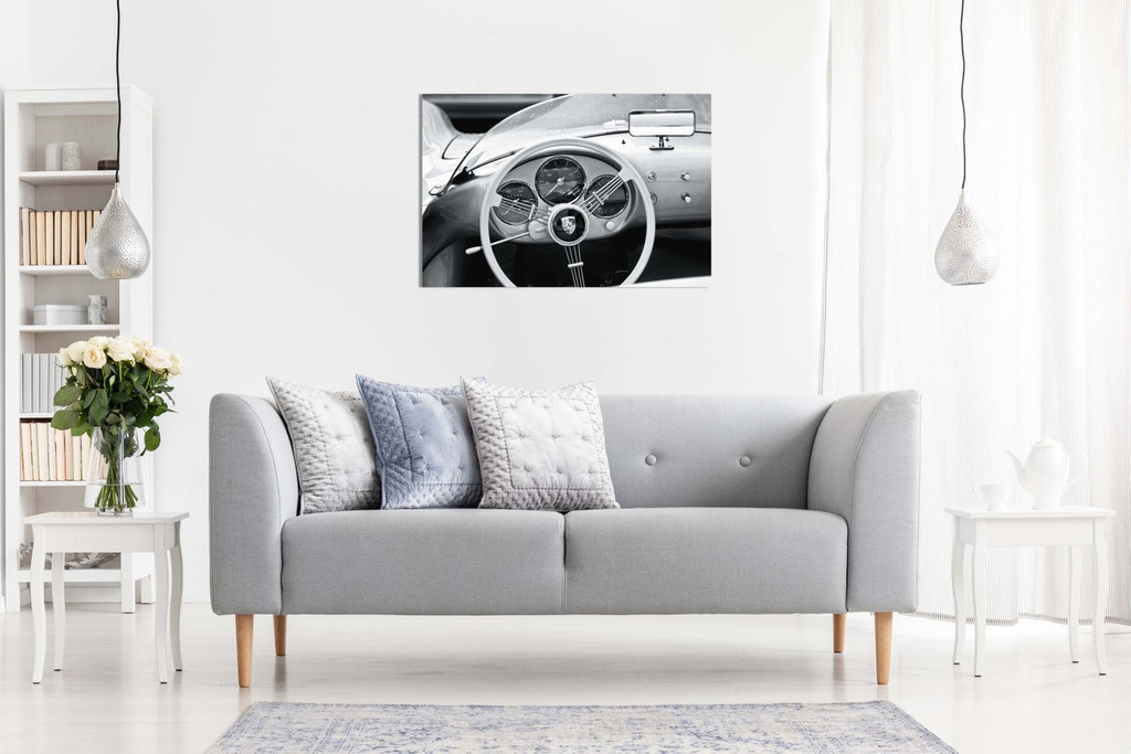 Porsche 356 Carrera Interior Black & White Garage Classic Car Canvas